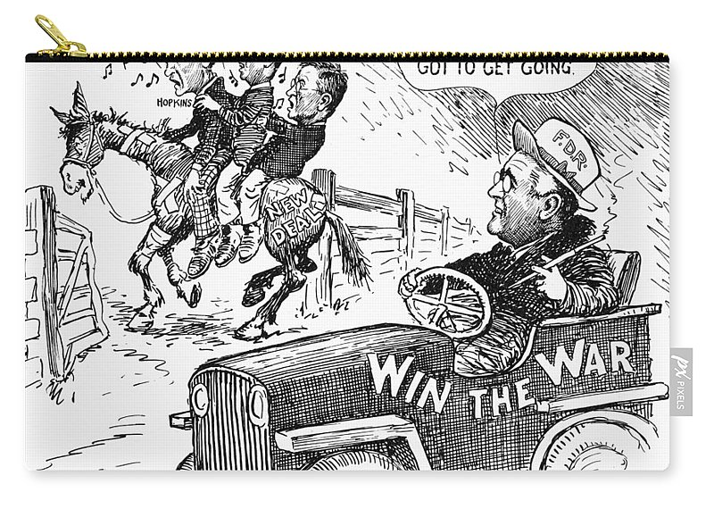 1943 Carry-all Pouch featuring the photograph New Deal: Cartoon, 1943 by Granger