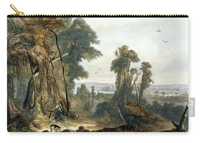 Indiana Carry-all Pouch featuring the drawing New Harmony On The Wabash, Plate 2 by Karl Bodmer