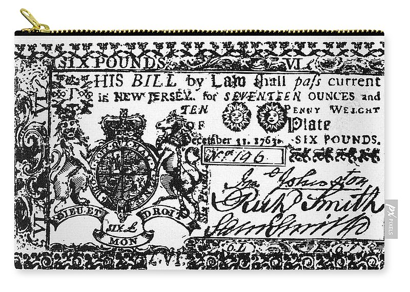 1763 Carry-all Pouch featuring the painting New Jersey Banknote, 1763 by Granger