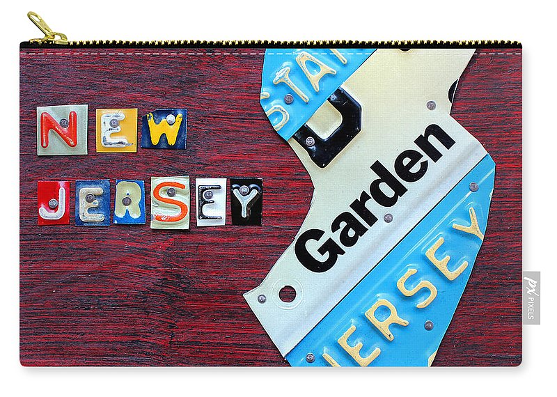 New Jersey Carry-all Pouch featuring the mixed media New Jersey License Plate Map by Design Turnpike