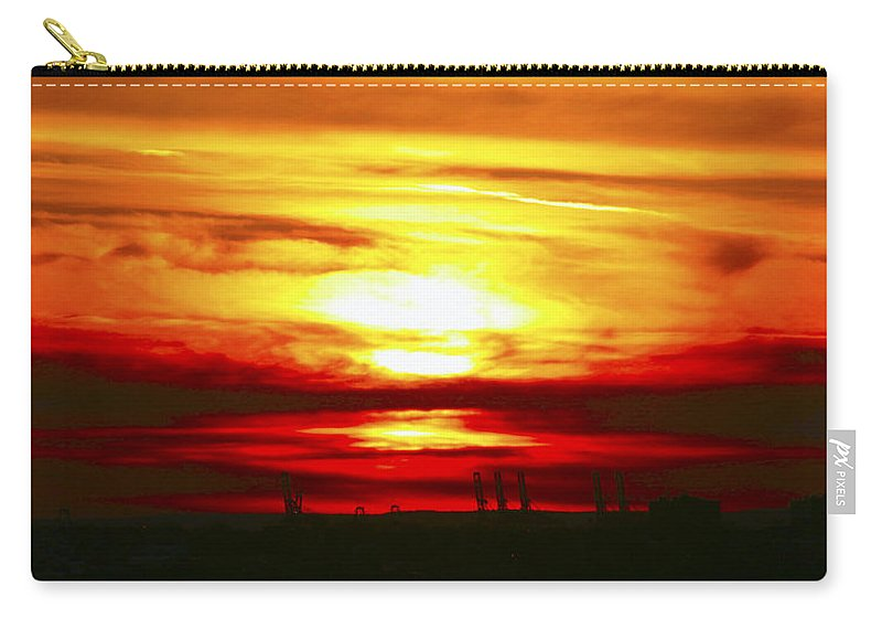 Orange Carry-all Pouch featuring the photograph New Jersey Sunset by Bob Slitzan