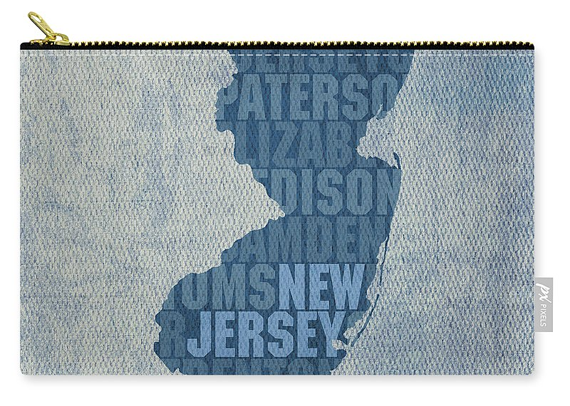 New Jersey Word Art State Map On Canvas Carry-all Pouch featuring the mixed media New Jersey Word Art State Map On Canvas by Design Turnpike