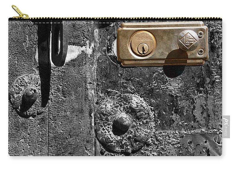 Door Carry-all Pouch featuring the photograph New Lock On Old Door 1 by James Brunker