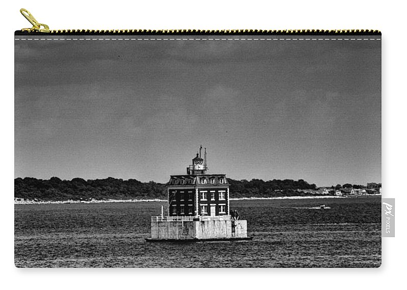 Joshua House Photography Carry-all Pouch featuring the photograph New London Shelf Light Black And White by Joshua House