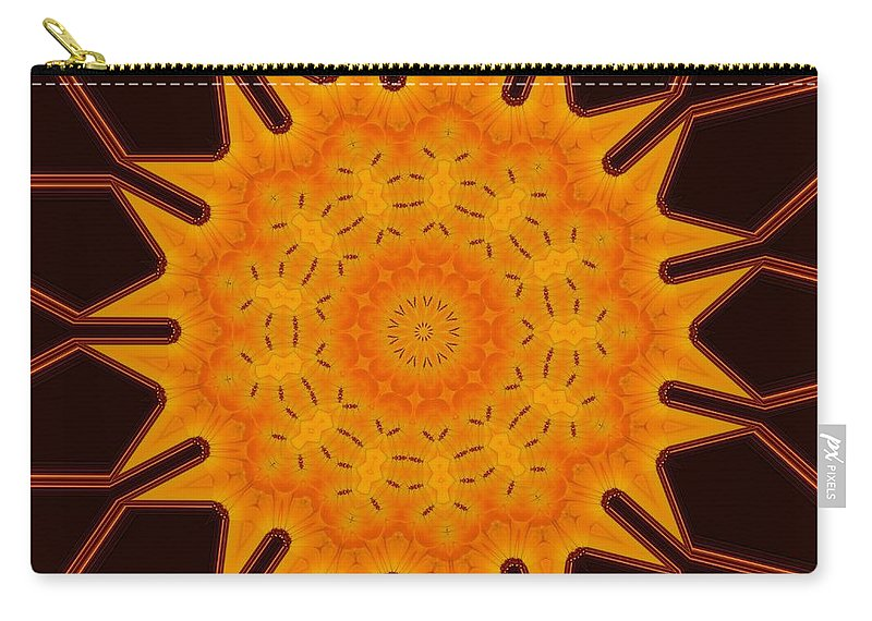 Abstract Carry-all Pouch featuring the digital art New Media Art Marigold On Mocha Kaleidoscope by Taiche Acrylic Art