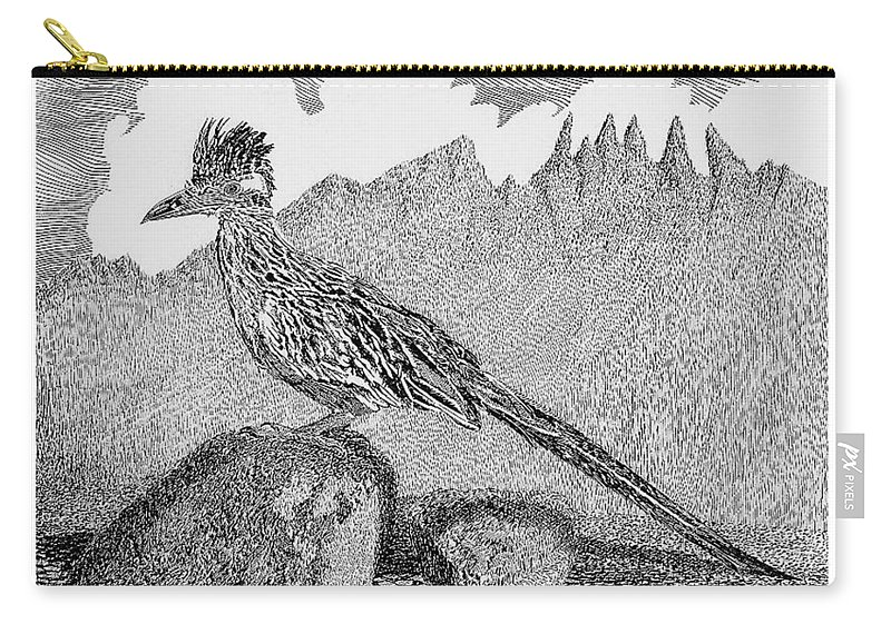 Organ Mountains-desert Peaks National Monument Carry-all Pouch featuring the drawing New Mexico Roadrunner by Jack Pumphrey