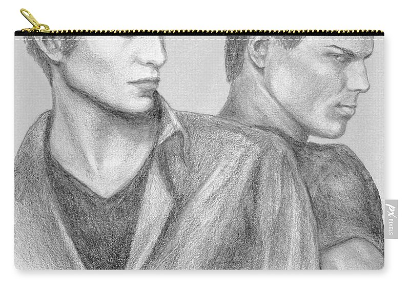 Edward Carry-all Pouch featuring the drawing New Moon by Christine Jepsen