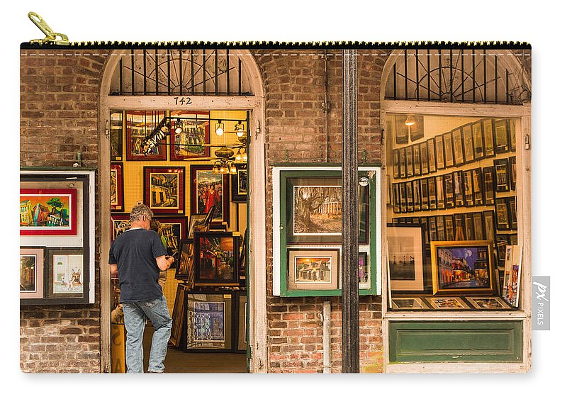 New Orleans Carry-all Pouch featuring the photograph New Orleans Art Shop On Royal by JG Thompson