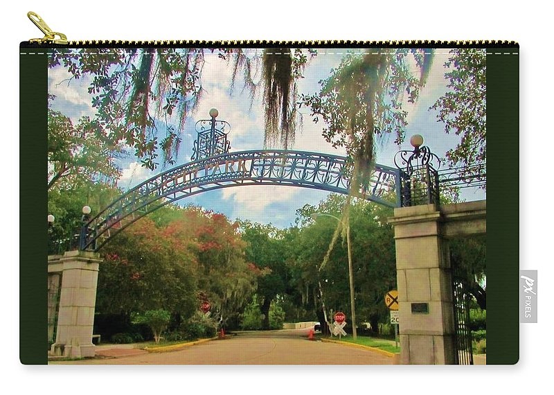 Pizzati Gate Carry-all Pouch featuring the photograph New Orleans City Park - Pizzati Gate Entrance by Deborah Lacoste
