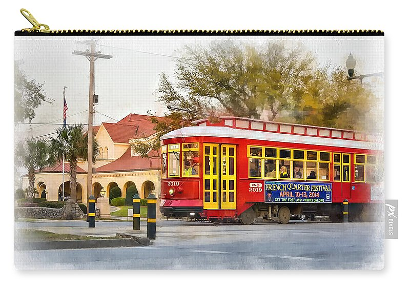 Canal Street Carry-all Pouch featuring the photograph New Orleans Streetcar Paint by Steve Harrington