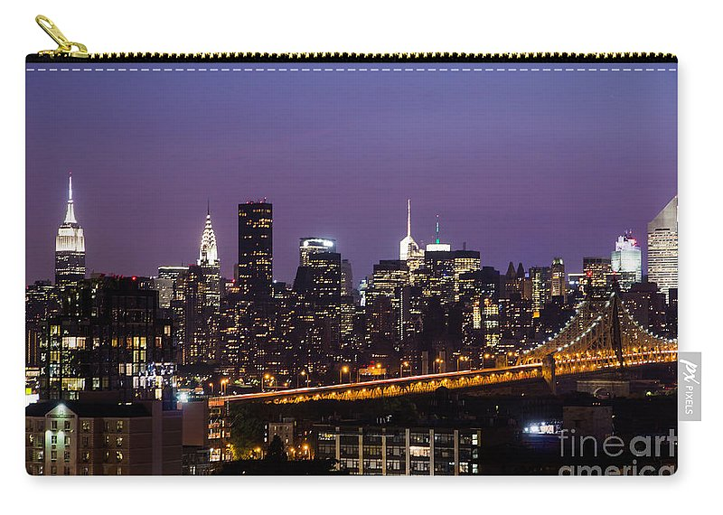 New York Carry-all Pouch featuring the photograph New York By Night by Agnes Caruso