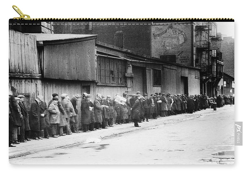 1930 Carry-all Pouch featuring the photograph New York City Bread Line by Granger
