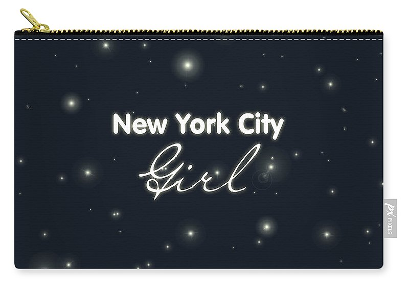 New York City Girl Carry-all Pouch featuring the digital art New York City Girl by Pati Photography