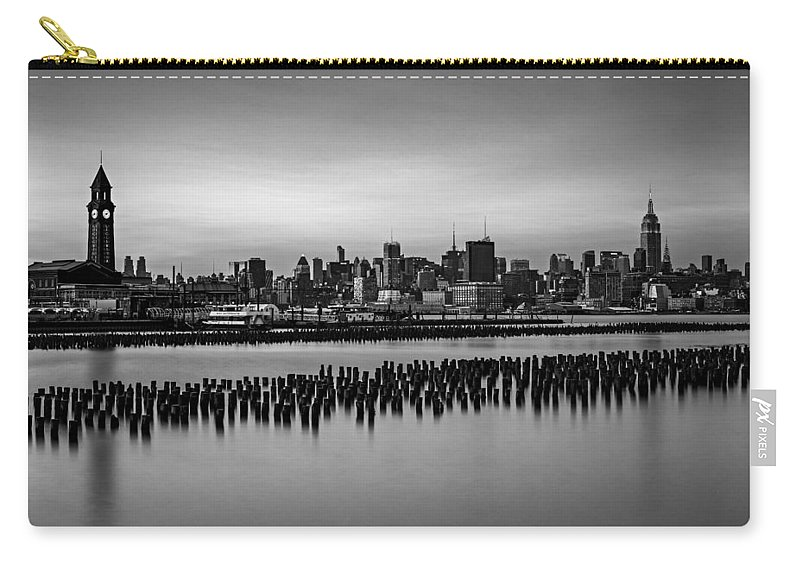 Esb Carry-all Pouch featuring the photograph New York City Skyline Stillness Bw by Susan Candelario