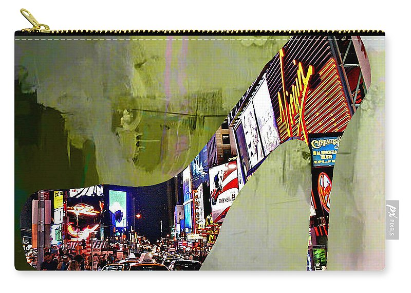 New York Digital Art Mixed Media Carry-all Pouch featuring the mixed media New York In A Shoe by Marvin Blaine