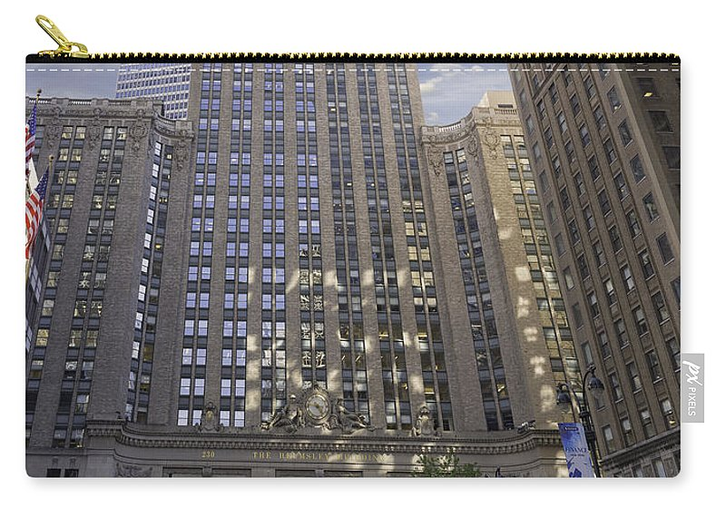 New York Carry-all Pouch featuring the photograph New York In Vertical Panorama by Angela Stanton