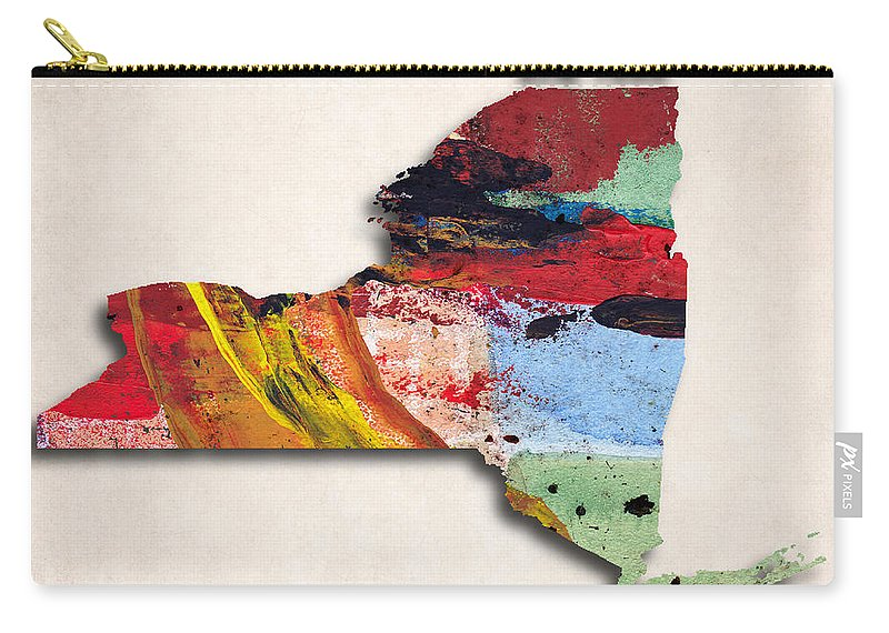 New York Carry-all Pouch featuring the digital art New York Map Art - Painted Map Of New York by World Art Prints And Designs