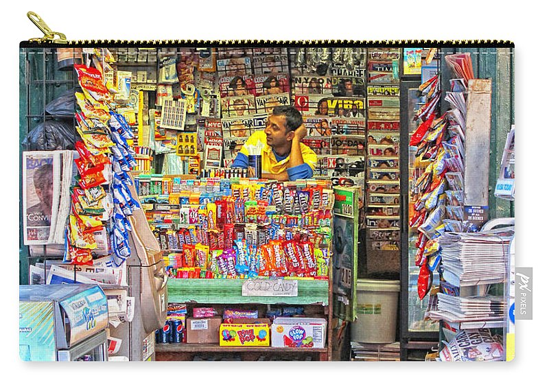 New York City Carry-all Pouch featuring the photograph New York Newsstand by Dave Mills