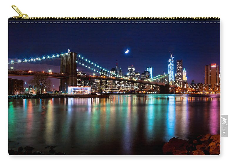 New York Carry-all Pouch featuring the photograph New York Skyline And Brooklyn Bridge With Crescent Moon Rising by Mitchell R Grosky