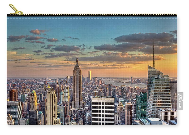 Tranquility Carry-all Pouch featuring the photograph New York Skyline Sunset by Basic Elements Photography