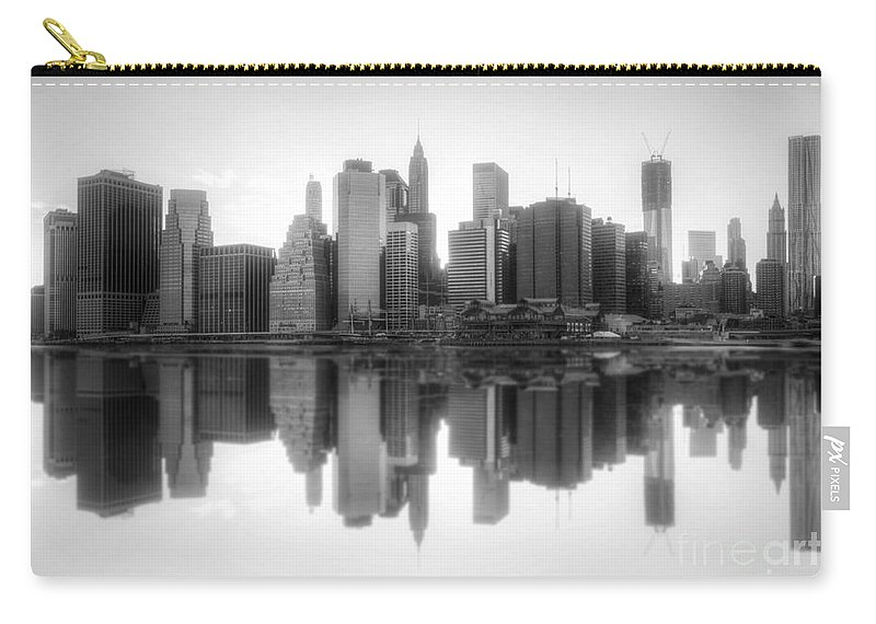Yhun Suarez Carry-all Pouch featuring the photograph New York Skyline Sunset Bw by Yhun Suarez