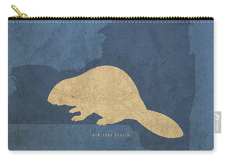 New York Carry-all Pouch featuring the mixed media New York State Facts Minimalist Movie Poster Art by Design Turnpike