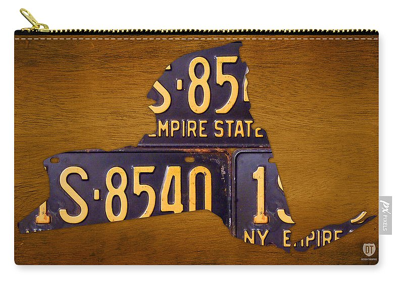New York City Carry-all Pouch featuring the mixed media New York State License Plate Map - Empire State Orange Edition by Design Turnpike