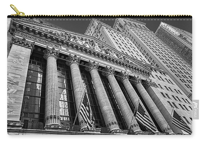 New York Stock Exchange Carry-all Pouch featuring the photograph New York Stock Exchange Wall Street Nyse Bw by Susan Candelario