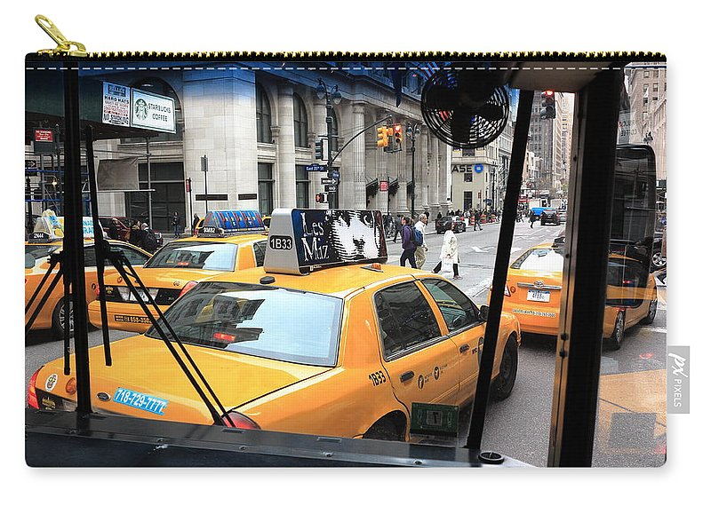 Architecture Carry-all Pouch featuring the photograph New York Taxi Cabs by Frank Romeo