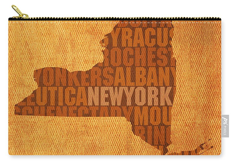 New York Word Art State Map On Canvas Carry-all Pouch featuring the mixed media New York Word Art State Map on Canvas by Design Turnpike