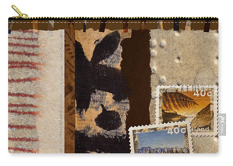 Postage Carry-all Pouch featuring the mixed media New Zealand by Carol Leigh
