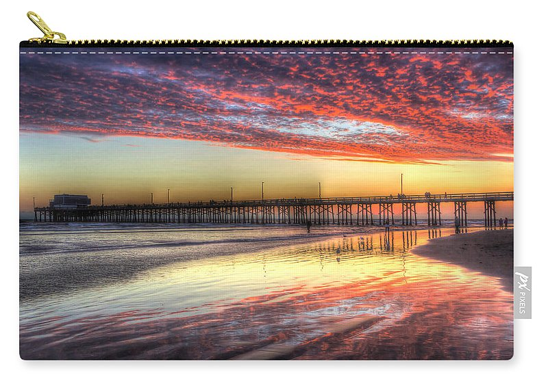 Beach Carry-all Pouch featuring the photograph Newport Beach Pier Sunset by Heidi Smith