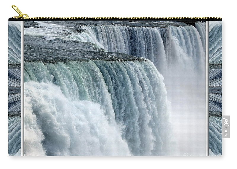 Niagara Falls Carry-all Pouch featuring the photograph Niagara Falls American Side Closeup With Warp Frame by Rose Santuci-Sofranko