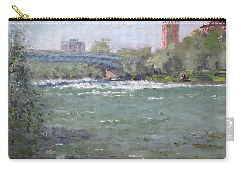 Niagara Falls Carry-all Pouch featuring the painting Niagara Falls River Ny by Ylli Haruni