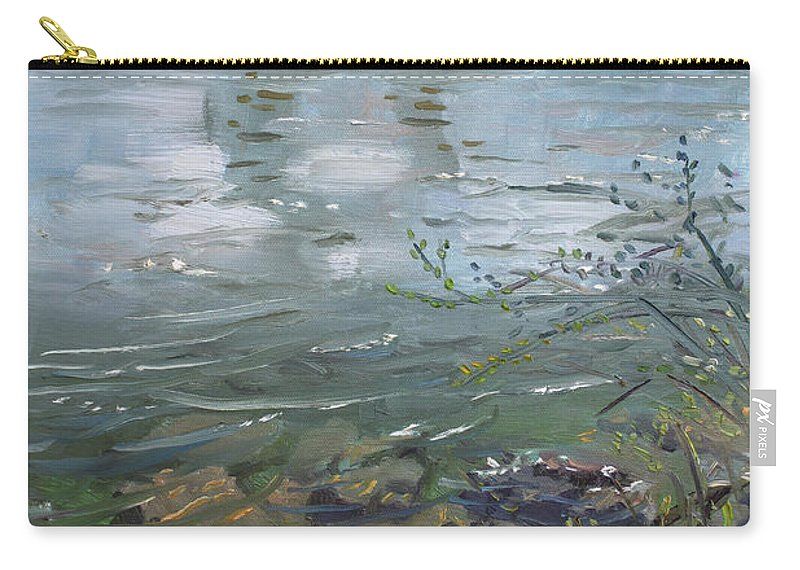 Niagara River Carry-all Pouch featuring the painting Niagara River Spring 2013 by Ylli Haruni