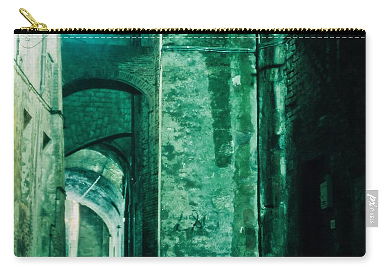 Italy Carry-all Pouch featuring the photograph Night Alley In Old City Of Siena Tuscany Italy by Stephan Pietzko