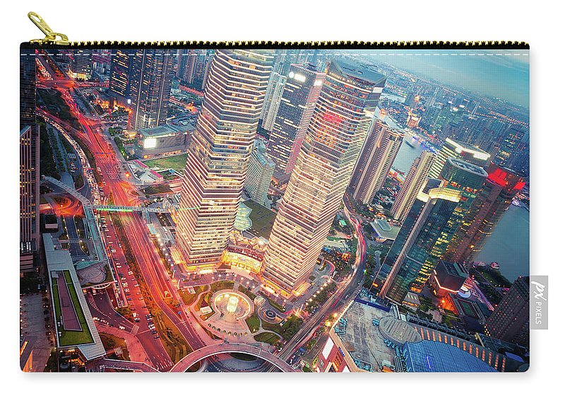 Chinese Culture Carry-all Pouch featuring the photograph Night City by Fzant