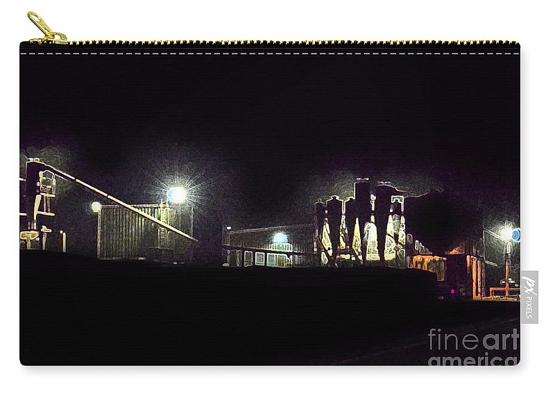 Industry Carry-all Pouch featuring the photograph Night Cotton Gin by Debbie Portwood