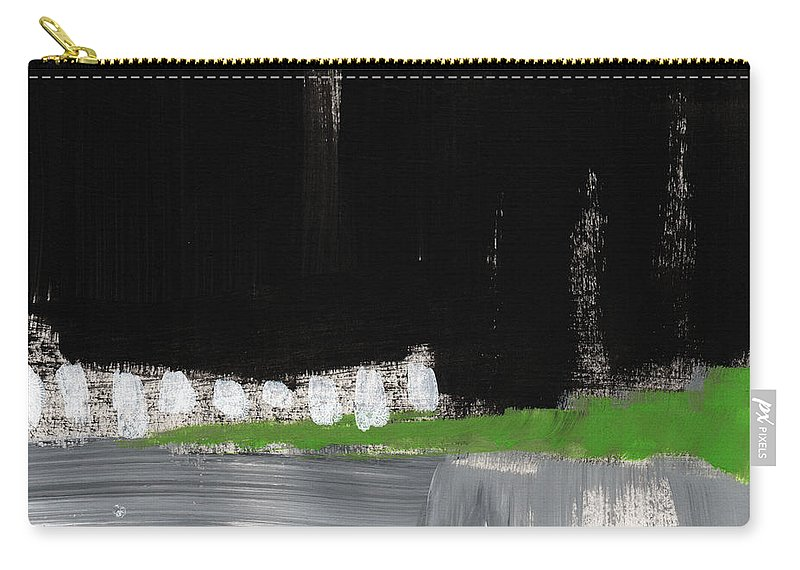 Abstract Painting Carry-all Pouch featuring the painting Night Horizon- Abstract Landscapeart by Linda Woods