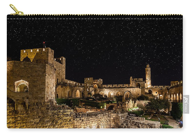 Israel Carry-all Pouch featuring the photograph Night In The Old City by Alexey Stiop