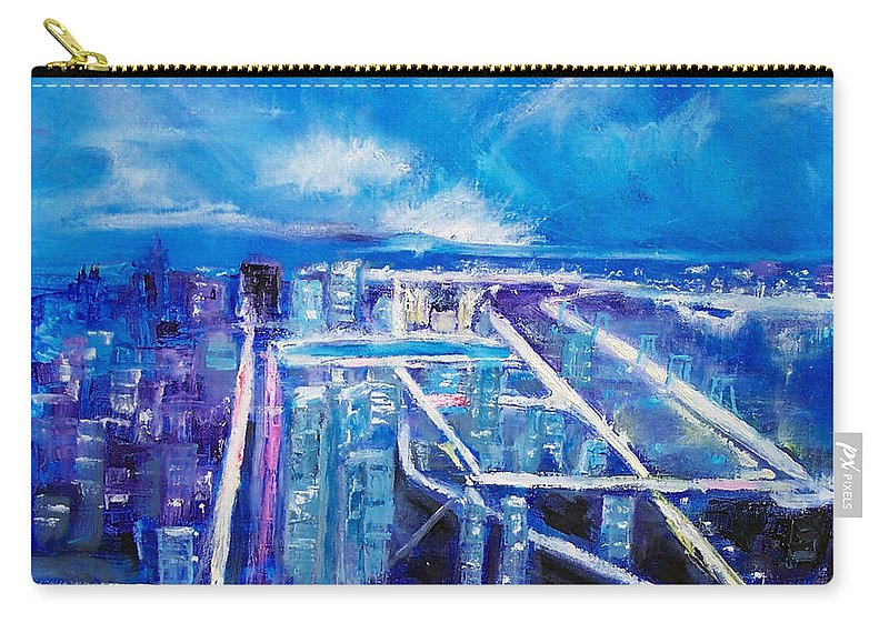 Cityscape Carry-all Pouch featuring the painting Night Lights by Robert Gross