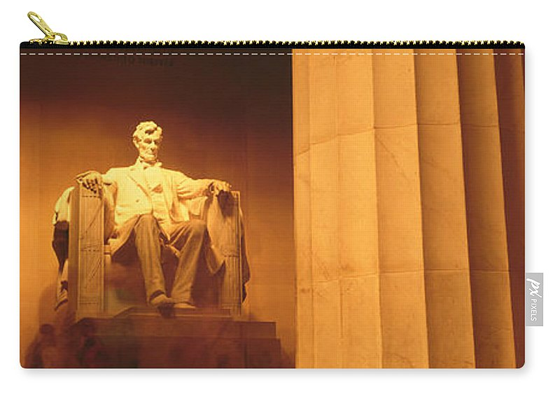 Photography Carry-all Pouch featuring the photograph Night, Lincoln Memorial, Washington Dc by Panoramic Images