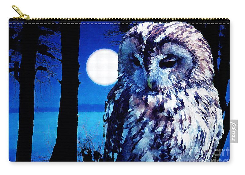 Owl Carry-all Pouch featuring the painting Night Owl by Neil Finnemore