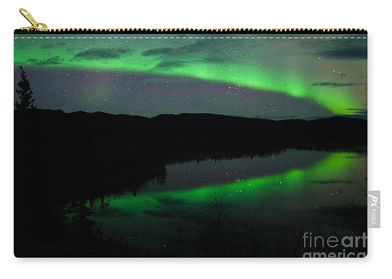 Above Carry-all Pouch featuring the photograph Night Sky Stars Clouds Northern Lights Mirrored by Stephan Pietzko