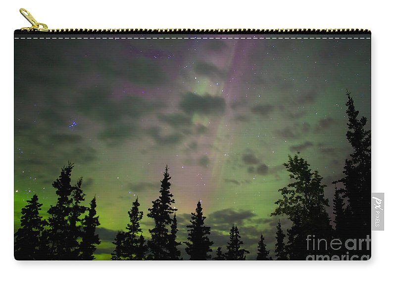 Astronomy Carry-all Pouch featuring the photograph Night Sky With Northern Lights Display by Stephan Pietzko