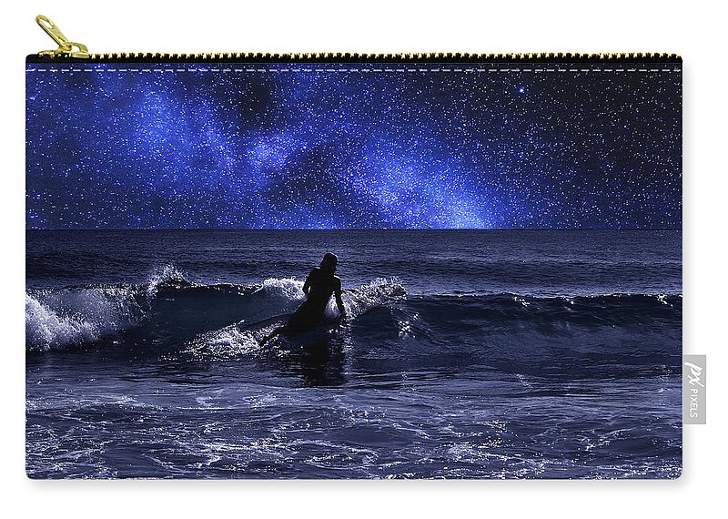 Night Carry-all Pouch featuring the photograph Night Surfing by Laura Fasulo