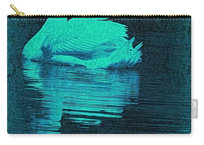 Swan Carry-all Pouch featuring the photograph Night Swan L by Dale Crum