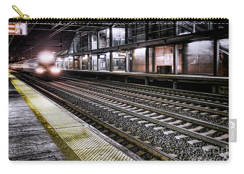 Train Carry-all Pouch featuring the photograph Night Train by Olivier Le Queinec