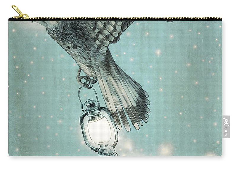 Hawk Carry-all Pouch featuring the drawing Nighthawk by Eric Fan