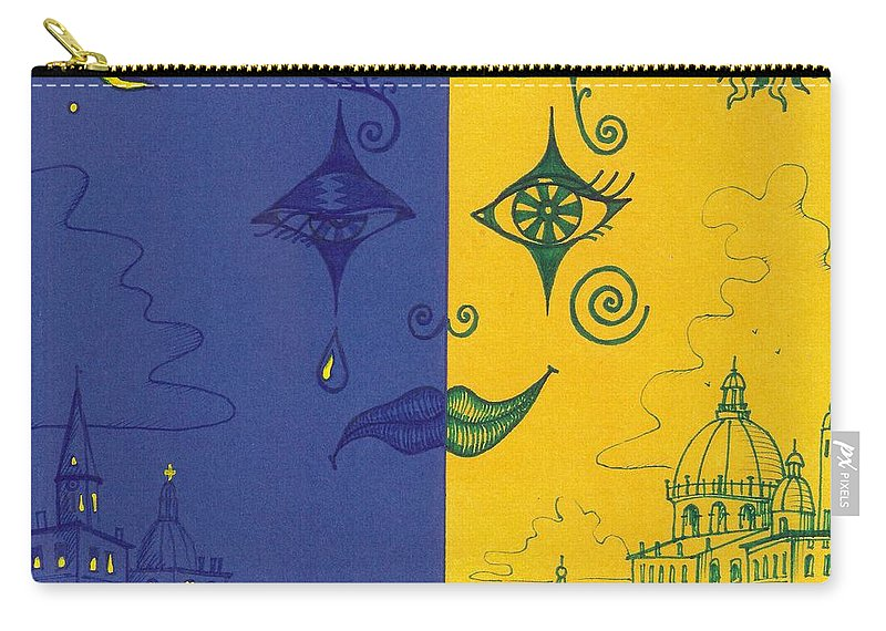 Print Carry-all Pouch featuring the painting Nightime And Daytime In Venice by Margaryta Yermolayeva